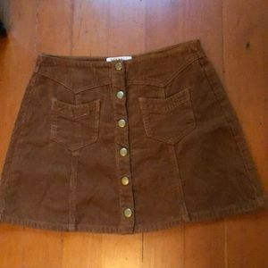 Kendall + Kylie crop corduroy skirt with snaps